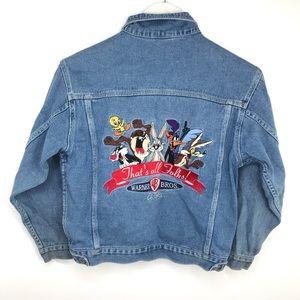 VTG 1995 Looney Tunes Jean Jacket Embroidered Med